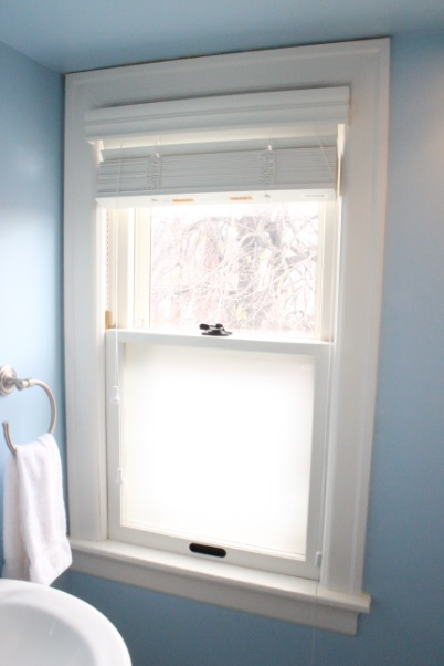 Bath Wooden Window with Replaced Window Glass on Lower Sash