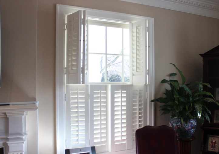 White painted wood shutters custom