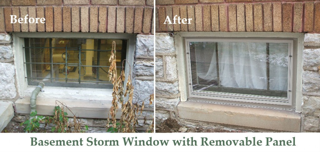 Basement Storm Window with Removable Panel